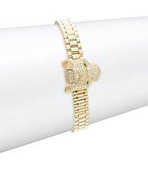14k yellow gold, diamond & emerald bracelet