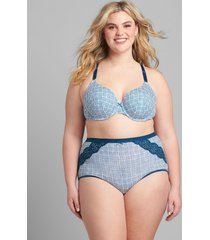 lane bryant women's cotton high-waist brief panty with lace trim 34/36 poseidon blue grid