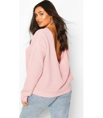 plus v-back oversized sweater, blush