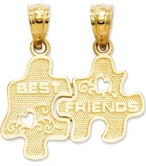 14k gold charm, best friends puzzle break-apart charm