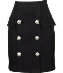 balmain black viscose skirt with buttons
