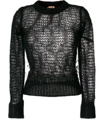 nº21 open knit feather sweater - black