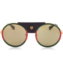 gucci designer sunglasses, gg0061s round-frame gold metal and black leather sunglasses w/sylvie web trim