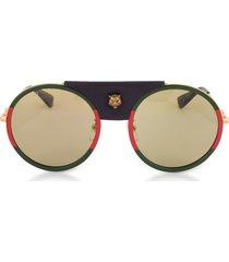 gucci designer sunglasses, gg0061s round-frame gold metal and black leather sunglasses w/sylvie web trim