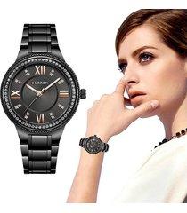 reloj moda mujer analogo metalico curren cristal diamante