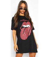 gelicenseerde rolling stones luipaard t-shirtjurk met lippen, zwart
