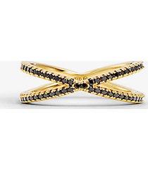 mk anello componibile in argento sterling placcato oro 14k e pavé - oro (oro) - michael kors