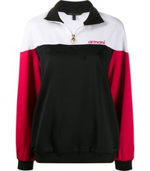 armani exchange color-block embroidered track top - black