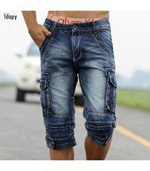 men's jeans, n's jeans, summer s retro cargo denim shorts vintage acid washed fa