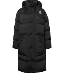 burberry detachable hood stretch nylon puffer coat - black