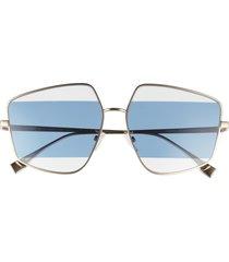 women's fendi 60mm stripe lens sunglasses - gold / blue