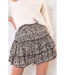 limited cheetah laagjes rok beige