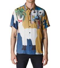 neuw denim baptist art 3 short sleeve button-up shirt, size small in baptist gold at nordstrom