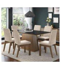conjunto sala de jantar madesa milena mesa tampo de vidro com 6 cadeiras rustic/preto/fendi