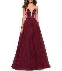 women's la femme plunge velvet & tulle ballgown