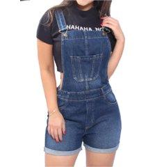 jardineira macaquinho jeans frozini curto stone claro