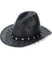 saint laurent straw cowboy hat - black