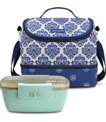 conjunto bolsa térmica e pote marmita com divisória ecológica fitness jacki design 900ml azul/verde