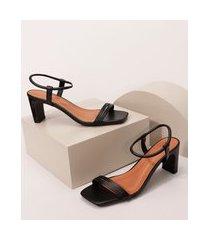 sandália feminina bico quadrado salto médio grosso oneself preta