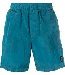 stone island logo-patch crinkled swim shorts - blue