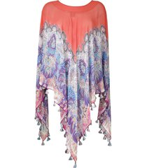 etro paisley-print silk poncho - multicolour