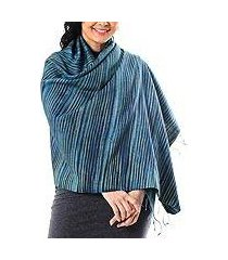 silk and cotton blend shawl, 'gorgeous stripes in light blue' (thailand)