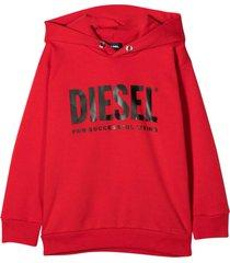 diesel red sweatshirt with hood and black frontal logo