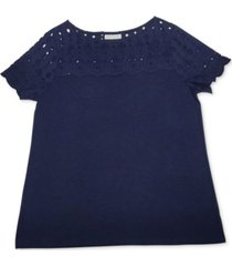 charter club cotton woven-yoke top, created for macy's