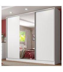 guarda roupa casal 100% mdf com espelho madesa royale 3 portas de correr branco