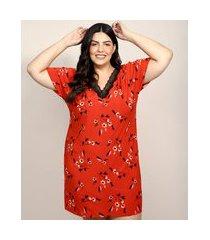 camisola feminina plus size estampada floral com renda manga curta vermelha