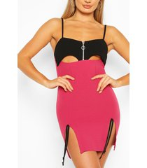 cut out mini dress with side split detail, pink