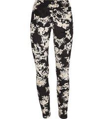 memoi women's velvet floral leggings - black - size m/l