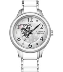citizen eco-drive women's minnie stainless steel & white silicone bracelet watch 36mm