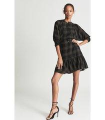 reiss daisy - checked mini dress in black, womens, size 14