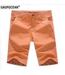 pantalones cortos casual gaupucean para hombre-naranja