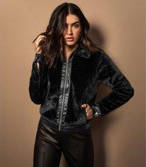 jaqueta feminina pelo sintético endless preto