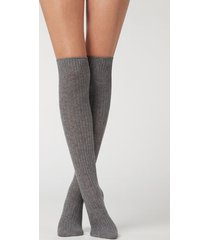 calzedonia women's ribbed long socks with wool and cashmere woman grey size tu