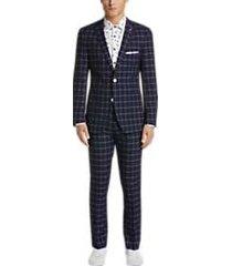 paisley & gray slim fit suit separates coat navy & white windowpane