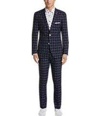 paisley & gray slim fit suit separates coat navy & white windowpane