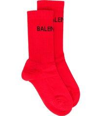 balenciaga logo knit socks - red