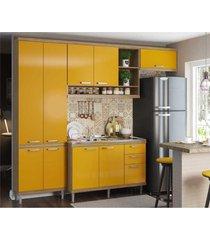 cozinha compacta completa multimã³veis com 4 peã§as sicãlia 5840 argila/amarelo - bege/incolor - dafiti