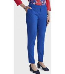 pantalon formal crop con aplicación azul lorenzo di pontti