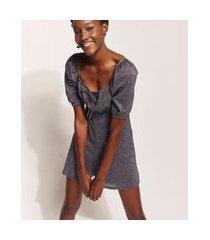 macaquinho feminino hype beachwear com lurex manga bufante preto