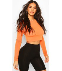 recycled basic longsleeve crop top, orange