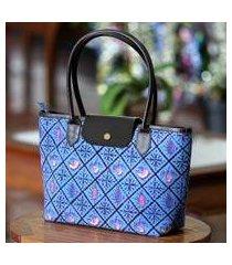 cotton batik shoulder bag, 'blue indramayu' (indonesia)