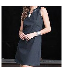 black cotton shift dress, 'lily in black' (indonesia)