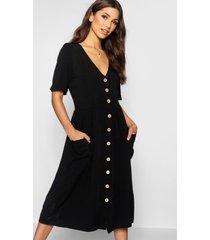 midi jurk met knopen en zakken, zwart