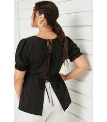 yoins basics plus talla con cordones diseño blusa de manga corta