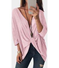 rosa delantero cruzado diseño blusas con mangas de murciélago y cuello en v