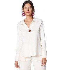 amaro feminino camisa linho com botão, off-white
